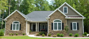 Eastern NC Custom Built Home - Gray Roof with Black Shudders